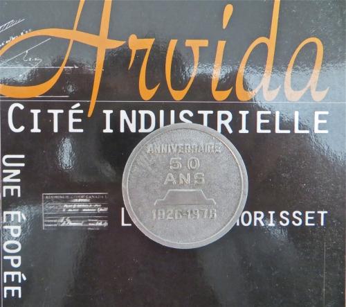Arvida, 50 ans, 1926, Lucie K. Morisset, anniversaire, souvenir, pièce, blason, armoiries, devise