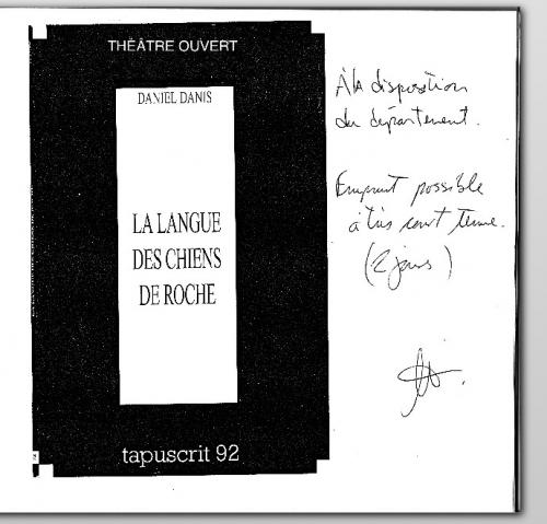 daniel danis,le langue à langue des chiens de roche,cégep de chicoutimi,théâtre,lecture publique