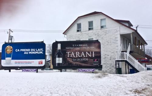 Tarani, lait, affiche, rue St-Dominique, Jonquière
