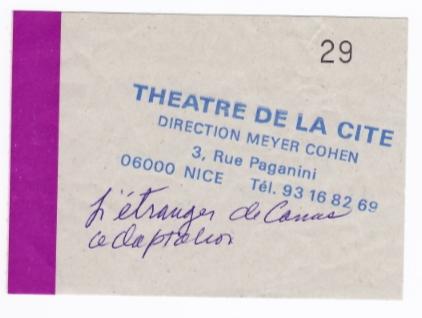 albert camus,théâtre de la cité,l'Étranger,meyer cohen, billets de concert,2003