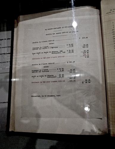 caisse populaire Desjardins, Chicoutimi, Pulperie, bilan annuel