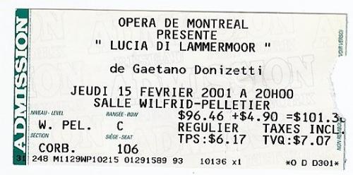 lucia di lammermoor, opéra de Montréal, Mary Dunleavy, 2001, metropolitan opera,natalie dessay,joseph calleja, opéra de Montréal