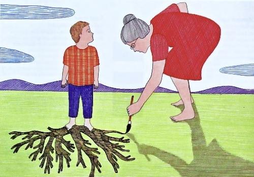 grand-parent, grand-mère, famille, racines, petit-fils