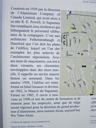 manoir du saguenay,britanny row,arvida,panneaux d'interprétation